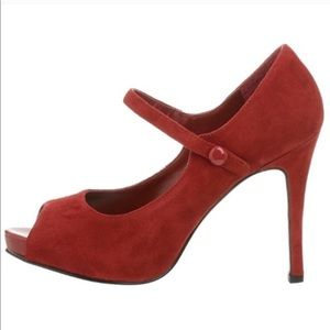 Nine West Luminous Red Suede Peep Toe Mary Janes 9